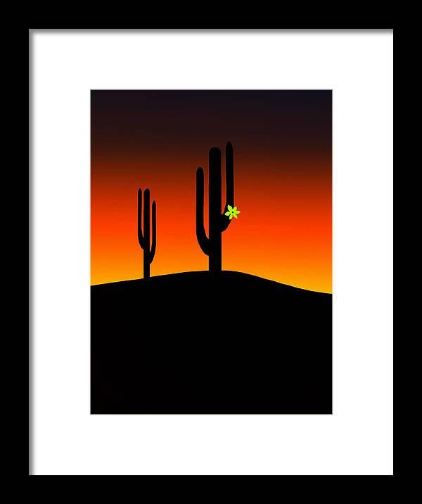 Sunrise Framed Print featuring the digital art Cactus Flower by Gravityx9 Designs