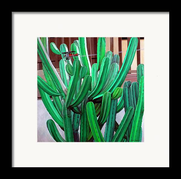 Landscape Framed Print featuring the painting Cactus Fly By by Snake Jagger