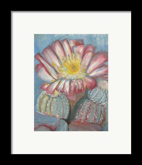Cactus In Blume Framed Print featuring the painting Cactus On The Rocks by Kathy Mitchell