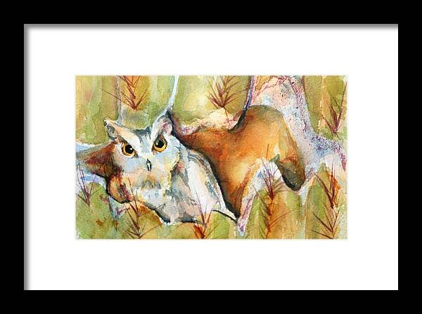 Watercolor Framed Print featuring the painting Cactus Owl by Donna Pierce-Clark