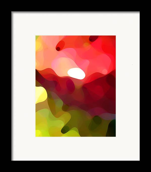 Abstract Art Framed Print featuring the painting Cactus Resting by Amy Vangsgard