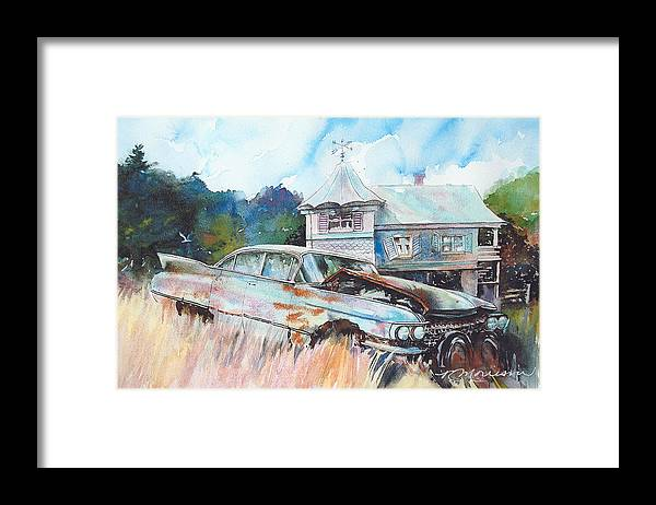 Cadillac Framed Print featuring the painting Caddy Sliding Down the Slope by Ron Morrison