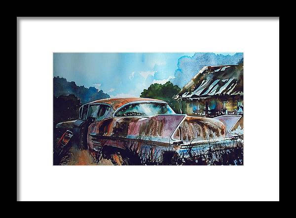 Caddy Framed Print featuring the painting Caddy Subsiding by Ron Morrison