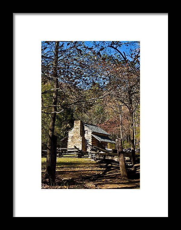 Cades Framed Print featuring the photograph Cades Cove Early Settler Cabin by Douglas Barnett