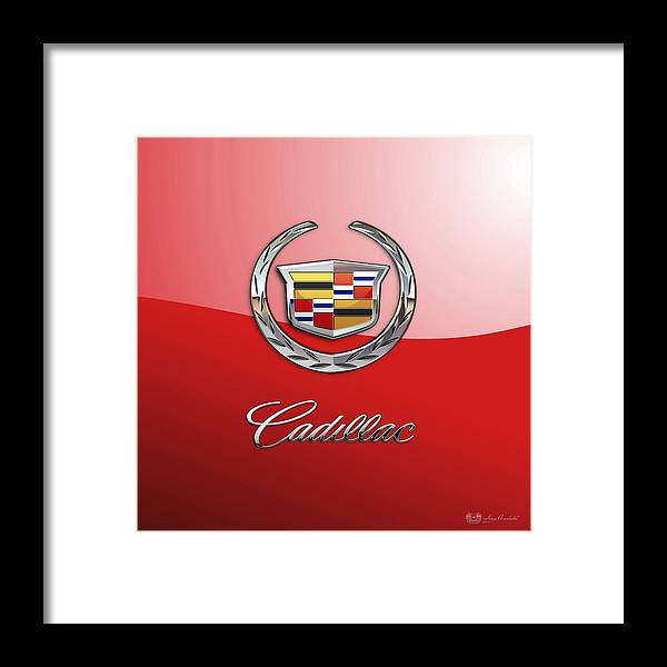 �wheels Of Fortune� Collection By Serge Averbukh Framed Print featuring the photograph Cadillac - 3 D Badge on Red by Serge Averbukh