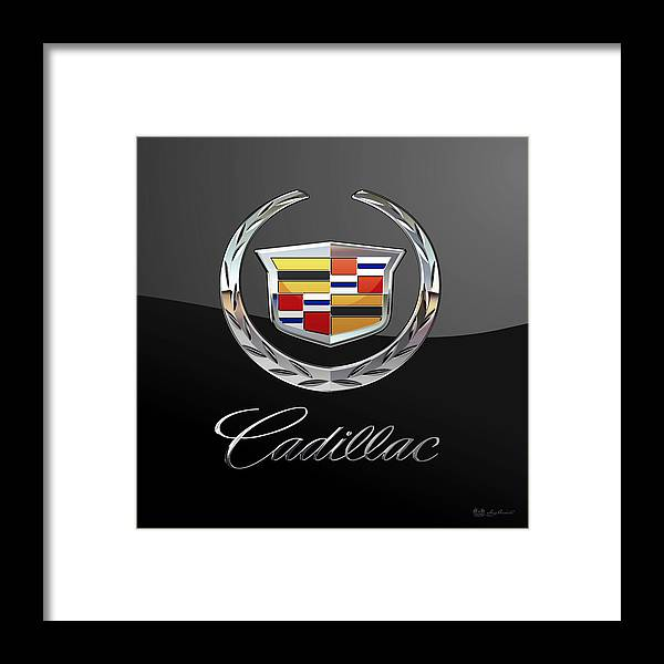 'wheels Of Fortune' By Serge Averbukh Framed Print featuring the photograph Cadillac - 3 D Badge On Black by Serge Averbukh