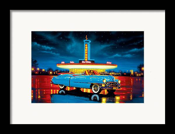 Car Framed Print featuring the photograph Cadillac Diner by MGL Studio - Chris Hiett