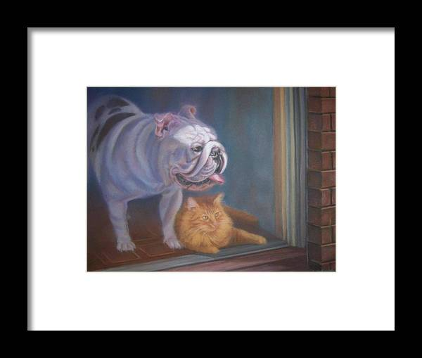 English Bulldogs Framed Print featuring the painting Caesar and Lily by Diane Caudle