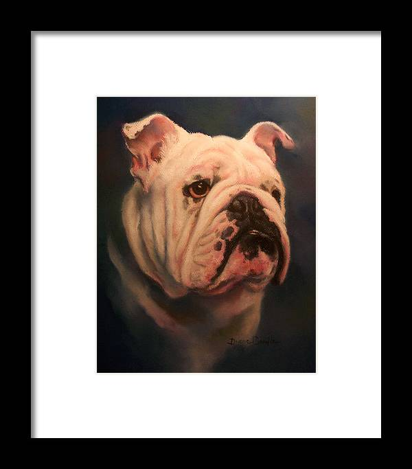 English Bull Dog Framed Print featuring the painting Caesar by Diane Caudle