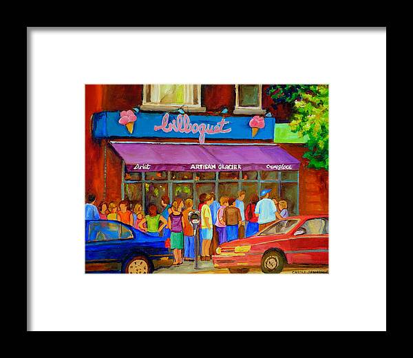 Cafe Bilboquet Framed Print featuring the painting Cafe Bilboquet Ice Cream Delight by Carole Spandau