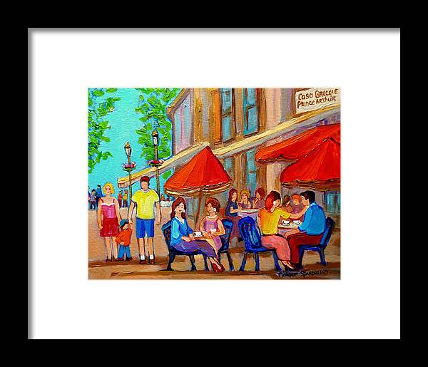 Cafescene Framed Print featuring the painting Cafe Casa Grecque Prince Arthur by Carole Spandau
