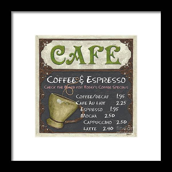 Cafe Framed Print featuring the painting Cafe Chalkboard by Debbie DeWitt