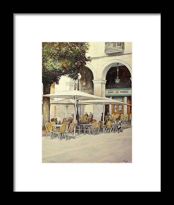 Cafe Framed Print featuring the painting Cafe de Pombo-Santander by Tomas Castano