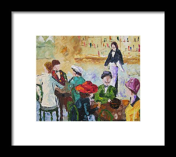 Seascape Framed Print featuring the painting Cafe Des Batignolles Paris France by Frederic Payet