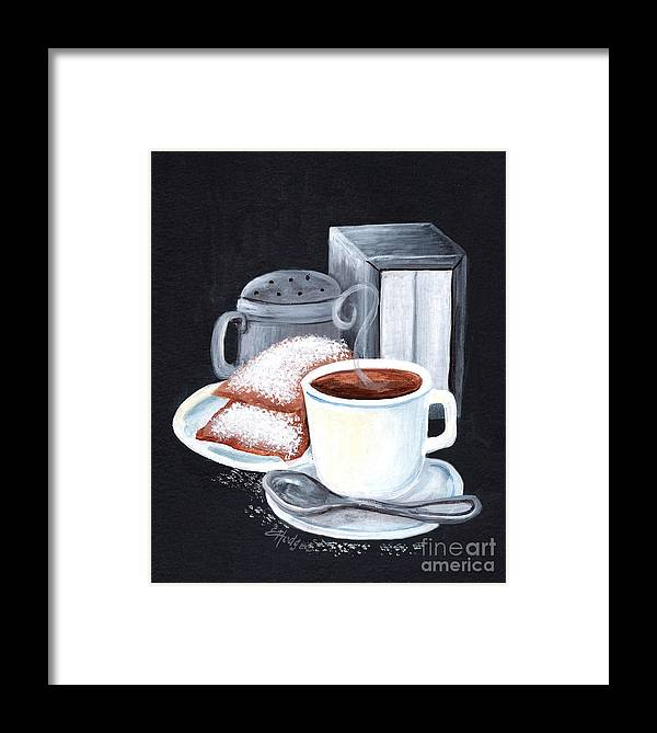 New Orleans Framed Print featuring the painting Cafe Du Monde On Black by Elaine Hodges