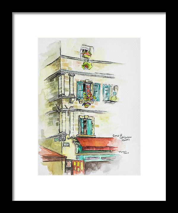 Urban Sketching Framed Print featuring the drawing Cafe In Arles by Rocio Olguin