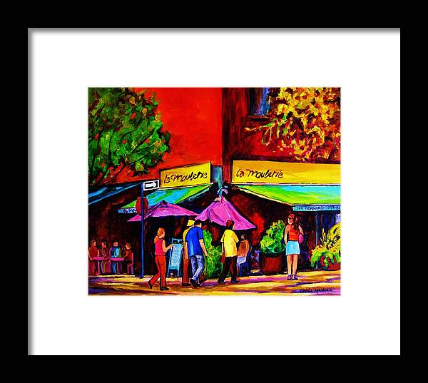 Cafe Scenes Framed Print featuring the painting Cafe La Moulerie On Bernard by Carole Spandau