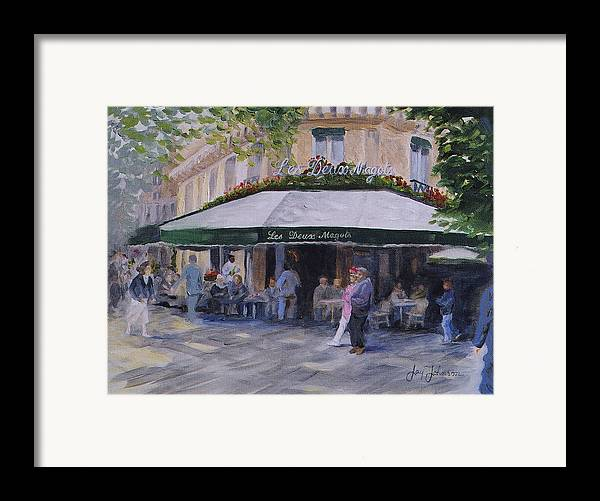 Cafe Magots Framed Print featuring the painting Cafe Magots by Jay Johnson