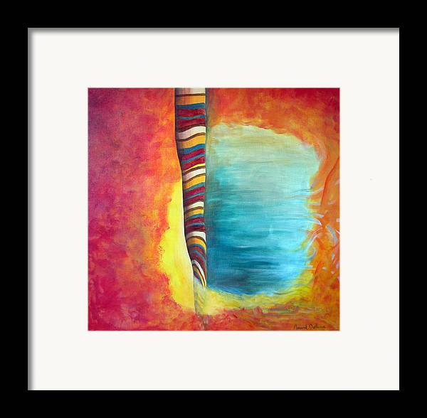 Abstract Framed Print featuring the painting Cafe by Muriel Dolemieux