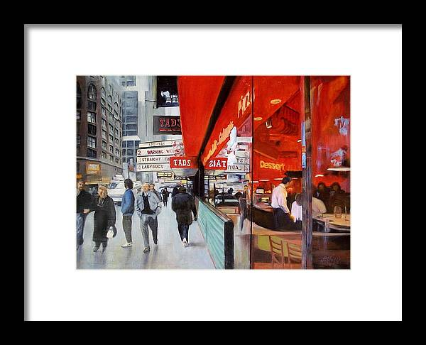 Cafe Framed Print featuring the painting Cafe On Broadway by Vladimir Troitsky