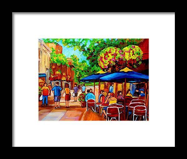 Cafe On Prince Arthur In Montreal Framed Print featuring the painting Cafe On Prince Arthur In Montreal by Carole Spandau