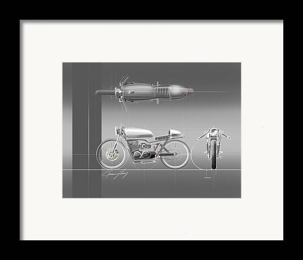 Hot Rod Framed Print featuring the drawing Cafe Racer by Jeremy Lacy