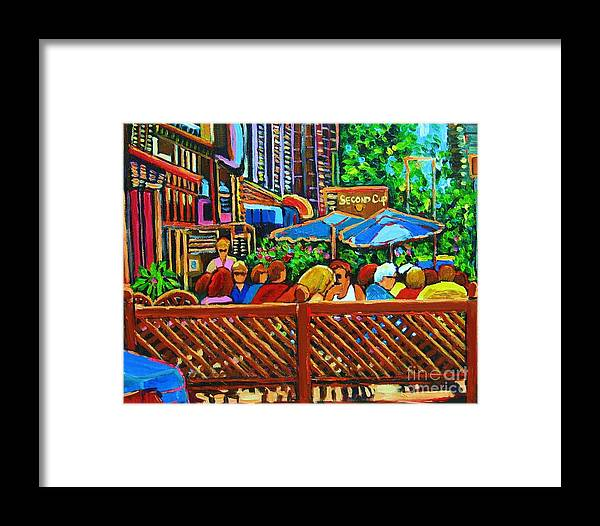 Cafes Framed Print featuring the painting Cafe Second Cup by Carole Spandau