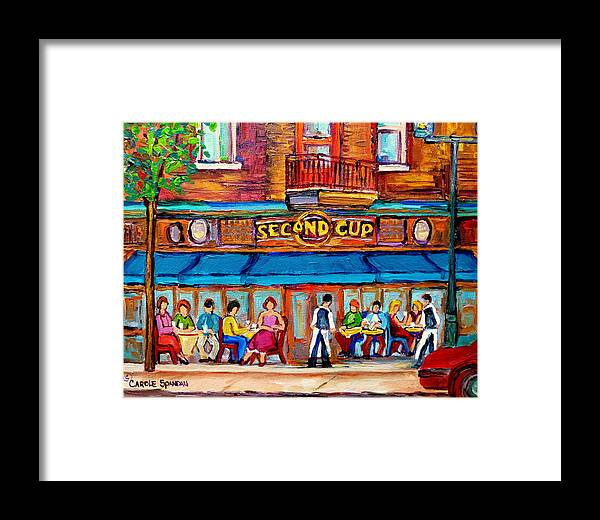 Cafe Second Cup Terrace Montreal Street Scenes Framed Print featuring the painting Cafe Second Cup Terrace by Carole Spandau