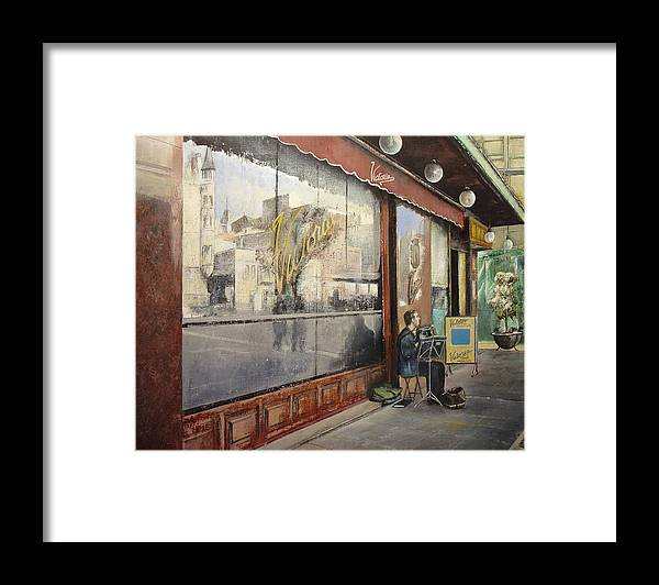 Cafe Framed Print featuring the painting Cafe Victoria by Tomas Castano