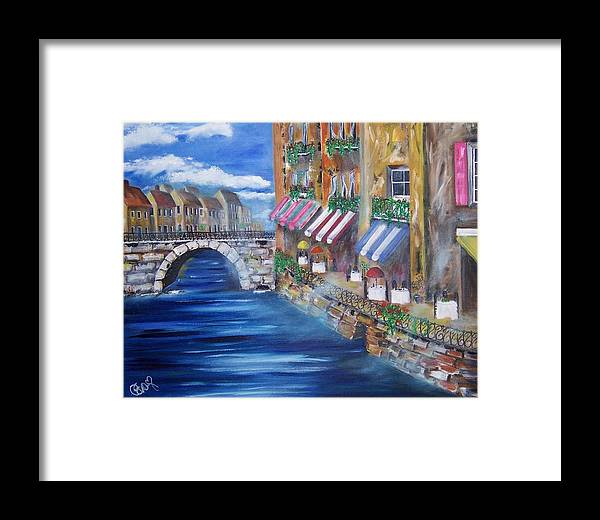 Landscape Framed Print featuring the painting Cafe Walk by Penny Everhart