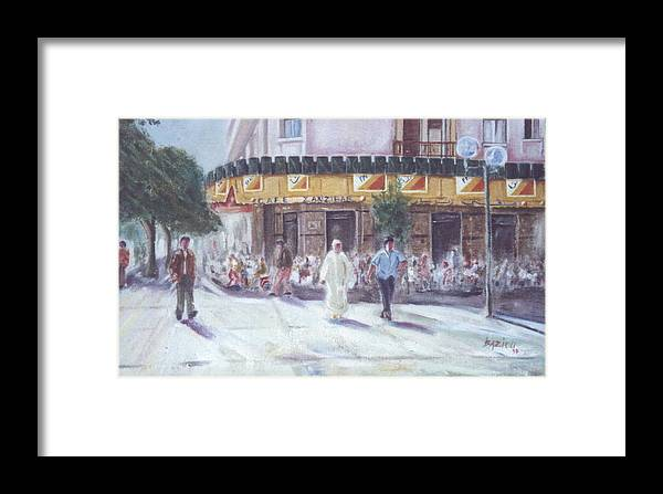 Landscape Framed Print featuring the painting Cafe Zanzibar. Fez by Karim Baziou