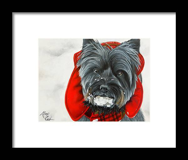 Dog Framed Print featuring the painting Cairn Terrier In The Snow by Alexandra Cech