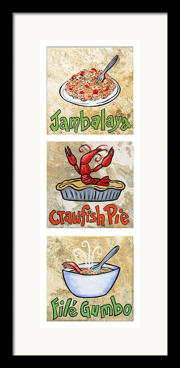 Jambalaya Framed Print featuring the painting Cajun Trio White by Elaine Hodges
