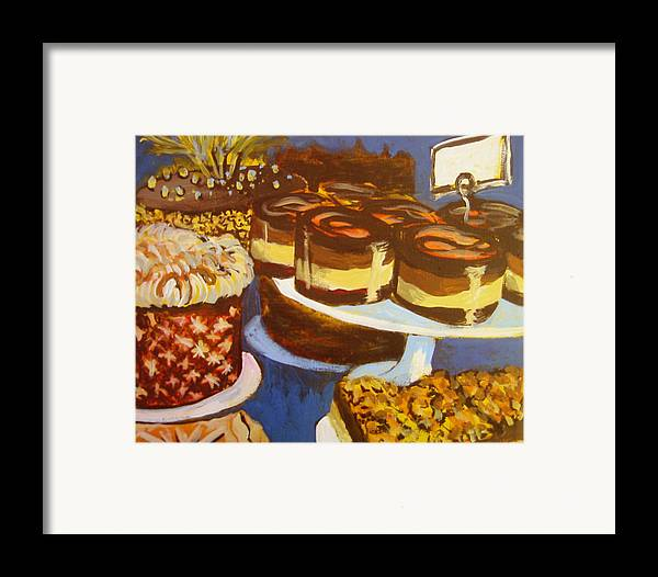 Cake Framed Print featuring the painting Cake Case by Tilly Strauss