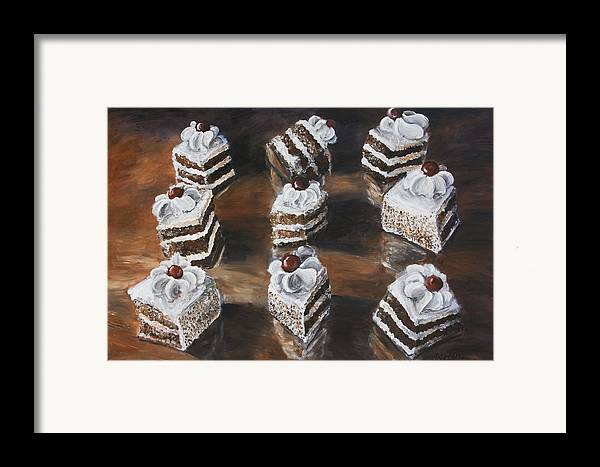 Cake Framed Print featuring the painting Cake by Nik Helbig