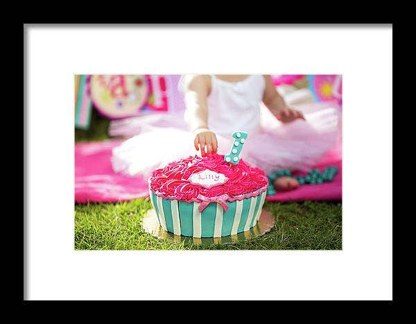 Background Framed Print featuring the photograph Cake Smash Pink Cake With Blue And White Stripes by Jan Pavlovski
