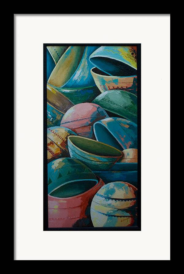Framed Print featuring the painting Calabash by Alfred Awonuga