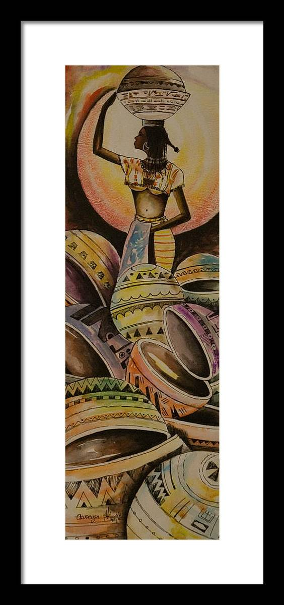 Framed Print featuring the painting Calabash Woman by Alfred Awonuga