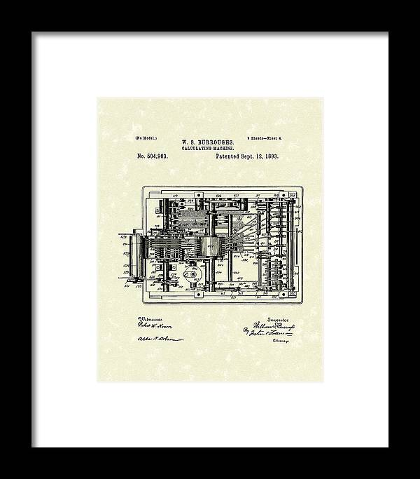Burroughs Framed Print featuring the drawing Calculator 1893 Patent Art by Prior Art Design