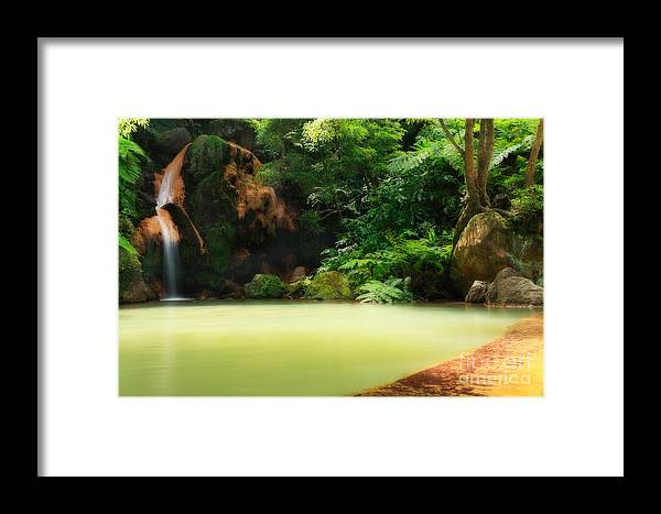 Azoren Framed Print featuring the photograph Caldeira Velha Thermal Pool by Gaspar Avila