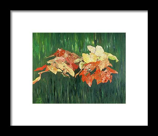 Forest Framed Print featuring the painting Caldium Forest by Oudi Arroni
