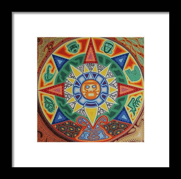 Calendario Azteca.Calendario Azteca Framed Print