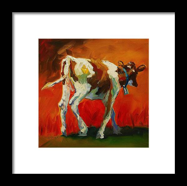 Painting Framed Print featuring the painting Calf Baby by Diane Whitehead