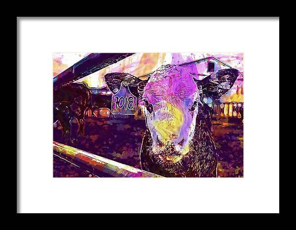Calf Framed Print featuring the digital art Calf Cow Maverick Farm Animal Farm by PixBreak Art