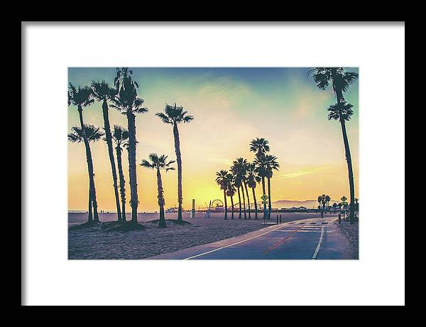 Venice Beach Framed Print featuring the photograph Cali Sunset by Az Jackson