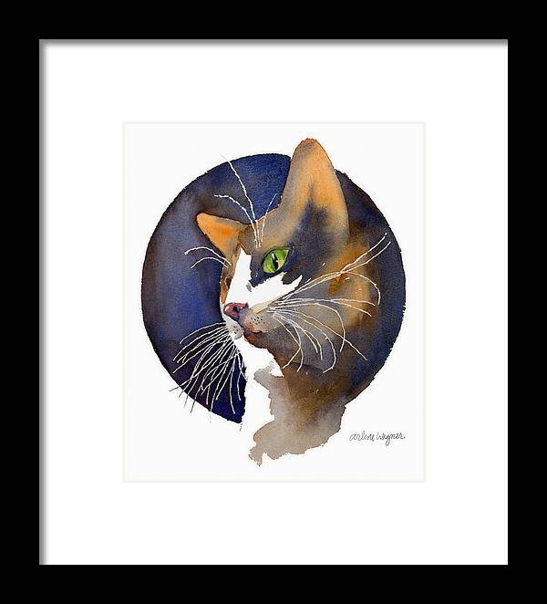 Cat Framed Print featuring the painting Calico by Arline Wagner