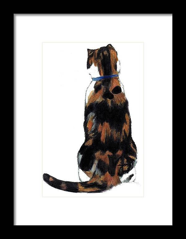 Cat Framed Print featuring the painting Calico Cat-attude by Debra Sandstrom