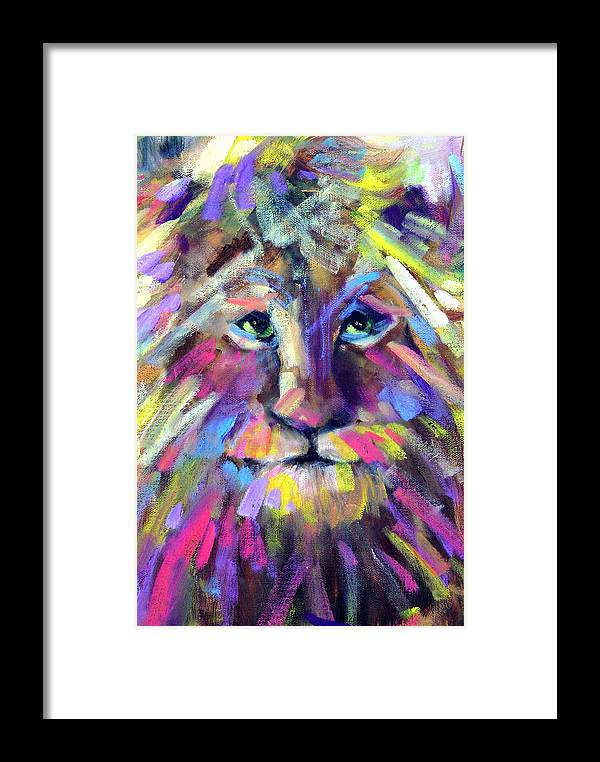 Lions Framed Print featuring the painting Calico Cat by Sally Seago
