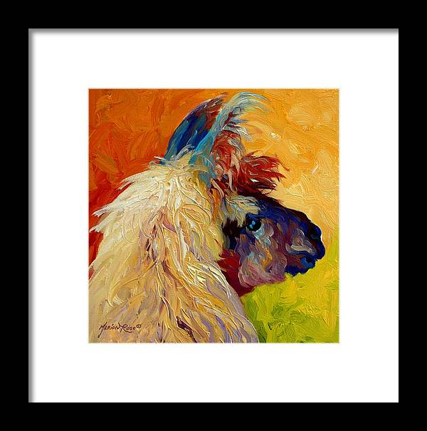 Llama Framed Print featuring the painting Calico Llama by Marion Rose