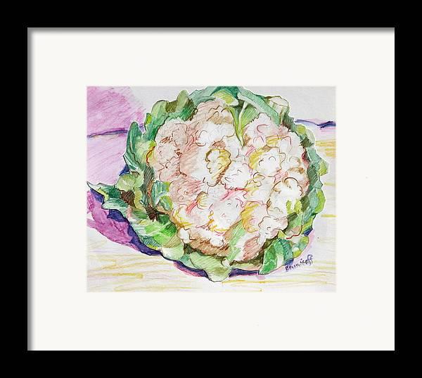 Cauliflower Framed Print featuring the painting Califlower by Jan Bennicoff